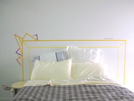 washi tape headboard diy audreysjl. Black Bedroom Furniture Sets. Home Design Ideas